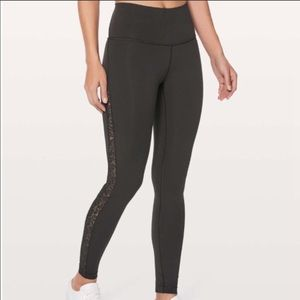 Lululemon Wunder Under Side Mesh Leggings
